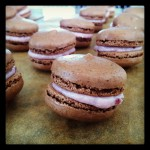 Chocolate macarons with raspberry mascarpone filling