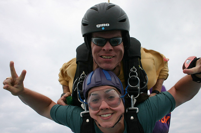 first skydive face
