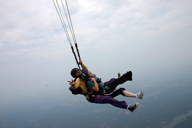 skydive, parachute opens