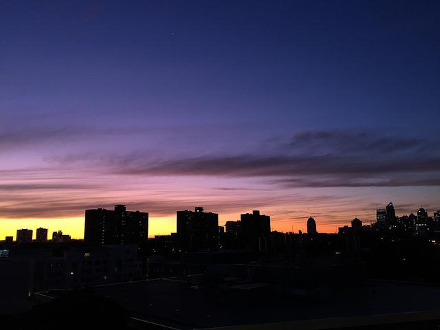 Sydney city skyline sunset