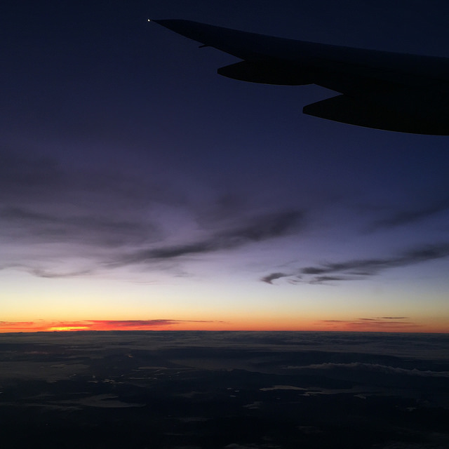 Sunrise over Sydney from an airplane